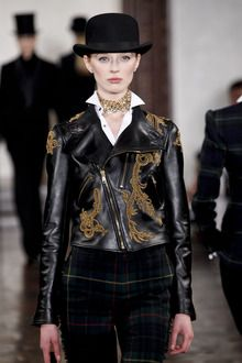 Ralph Lauren Fall 2012 Cropped Leather Biker Jacket With Embroidery