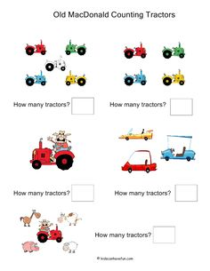 Old MacDonald Counting Tractors Worksheet http://www.kidscanhavefun.com/math-activities.htm #math #counting #worksheets