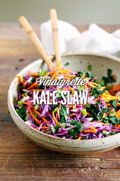 So yum! This slaw is a modern, healthy take on traditional coleslaw. Made with traditional slaw ingredients, kale, and a simple homemade vinaigrette. Love this! Great on sandwiches, tacos, or as a side salad.