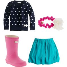 K has a teal skirt....Target has a navy and poka dot cardi right now and pink rainboots.....I just bought her a pink beaded necklace so I think this may be a must have!