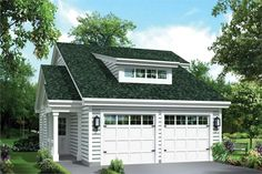 Front elevation of Garage w/Apartments home (ThePlanCollection: House Plan #138-1274)