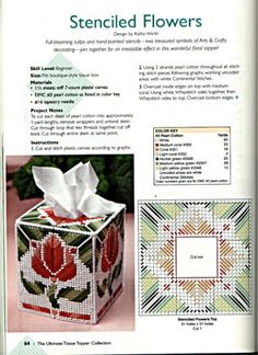 Stenciled Flowers Tissue Box Cover 1/2