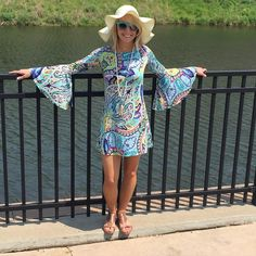 Feeling #Colorful? This #dress is a #perfect way to express you #fun & #funky side! S-L $54. #necklace $54. Floppy #hat $32. #ShopMBAV #shoplocal #applevalley #lovefunandsun #getthelook #boutiquestyle