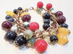 Vintage Lucite Beaded Charm Bracelet Copper Link Retro Filigree POP ART Loaded!! #Unbranded #CharmStatement
