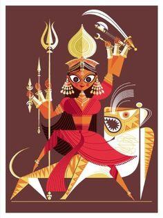 Durga The Big Poster Book of Hindu Deities: 12 Removable Prints Sanjay Patel: Books Durga Painting, Madhubani Painting, Bd Art, Indian Illustration, Indian Folk Art, Indian Art Paintings, India Art, Durga Puja, Hindu Deities