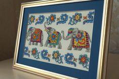 #cuadro Elefantes de la suerte para amantes de tradiciones