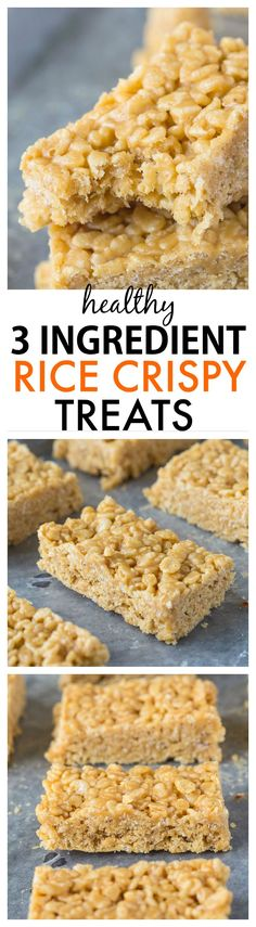 3 Ingredient No Bake Healthy Rice Crispy Treats- Just three ingredients and 5 minutes to these healthy snacks which have no butter, oil or marshmallows yet taste incredible! {vegan, gluten-free} -thebigmansworld.com