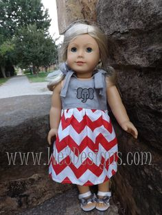 Alabama Elephant Applique Shoulder Ties Dress with Grey Bow Sandals for 18 inch Dolls.  Matching dress for girl is also available.