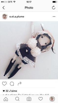Emma doll on etsy/Instagram/Twitter/e.et.a.plume #handmadedoll #dollmaker #dollmaking #heirloomdoll #doll #poupee #poupeechiffon