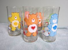 1980's collectible Care Bear drink glasses