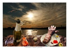 CANNIBAL's DINNER (female) -  (prints available) photoshop art, gothic, humour, humor, sunrise pictures, pictures of sunsets, food photography, dinner pictures, surrealism, artistic photgraphy, fantasy pictures