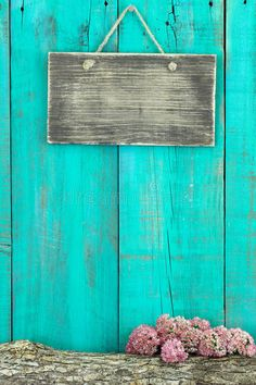 Blank Rustic Sign Hanging On Antique Teal Blue Wood Fence With Log And Pink Flower Border Stock Image - Image of family, enter: 45603259 Flower Background Wallpaper, Flower Backgrounds, Background Pictures, Background Patterns, Wallpaper Backgrounds, Iphone Wallpaper, Aesthetic Pastel Wallpaper, Colorful Wallpaper, Fond Design