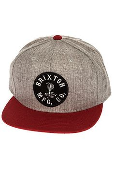 7bd1e8a5a8f The Cobra Snapback Hat in Light Heather Grey and Red by Brixton Dope Hats