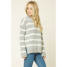 Love 21 Women's  Contemporary Striped Sweater ($25) via Polyvore featuring tops, sweaters, striped sweater, stripe top, white sweater, white striped sweater and stripe sweater