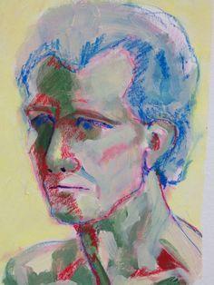 Portrait of man in acrylic & stabilo pencil on carton by Mary-Jean Dudok de Wit.