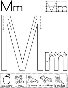lemtra m fichas del abecedario y el alfabeto para descargar gratis para imprimir de niños Preschool Letter M, Letter M Activities, Letter A Crafts, Preschool Kindergarten, Letter M Worksheets, M Letter, Preschool Writing, Preschool Worksheets, Preschool Learning