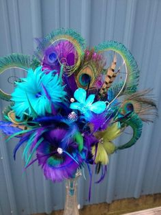 Peacock Wedding Bouquet. Bridal Bouquet Sparkling Crystals, Beautiful Brooches,