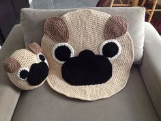 Crochet Pug rug by PeanutButterDynamite on Etsy