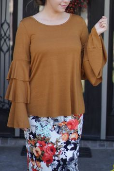 Our Zoe top is the perfect mustard color ❤️ check out our collection of tops at www.theskirtsociety.com