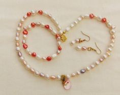Peach and Cream Freshwater Pearl Jewellery Set, Necklace, Bracelet, Earrings, Birthday Gift, Accessories, Anniversary Gift, Christmas Gift by oswestryjewels. Explore more products on http://oswestryjewels.etsy.com
