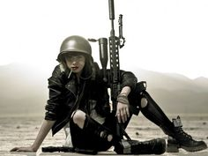 bad ass | badass, girl, gun, helmet, tank girl