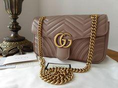 17898c6fe80 Gucci GG Marmont Small Shoulder Bag in Porcelain Rose Matelassé Calfskin -  As New