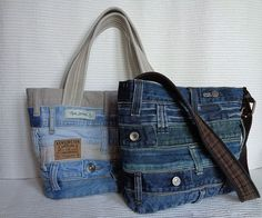 Denim handbag tote bag recycled distressed grunge rock by BukiBuki