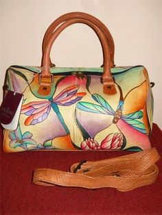 ANUSCHKA HAND PAINTED LEATHER 'DRAGONFLY' SATCHEL HANDBAG GREAT BAG WITH TAGS!!