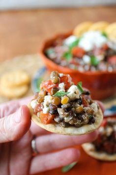 Fresh Bruschetta and Lentil Dip from The Food Charlatan // A healthy and vegetarian appetizer for the Super Bowl!