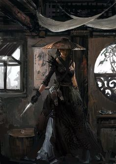 female samurai ninja assassin thief rogue armor clothes clothing fashion player character npc | Create your own roleplaying game material w/ RPG Bard: www.rpgbard.com | Writing inspiration for Dungeons and Dragons DND D&D Pathfinder PFRPG Warhammer 40k Star Wars Shadowrun Call of Cthulhu Lord of the Rings LoTR + d20 fantasy science fiction scifi horror design | Not Trusty Sword art: click artwork for source