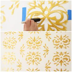 Create a custom damask pattern with your own DIY stencil. Click to watch the tutorial! #diy #damask #stencil #hgtvhandmade #gold