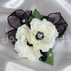 ZOE wrist corsage white anemone with black by JosiesPosiesUK, £9.50