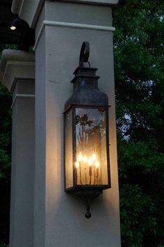 Elegant outdoor lighting by St. James- Sarasota Copper Lantern - Outdoor Lighting - Ideas of Outdoor Lighting Front Door Lighting, Porch Lighting, Home Lighting, Outdoor Lighting, Lighting Ideas, Lighting System, Kitchen Lighting, Exterior Light Fixtures, Outdoor Light Fixtures
