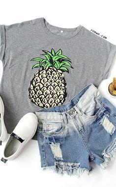 Grey Short Sleeve Letters Print Loose T-Shirt
