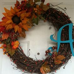 fall wreath with letter of last name.