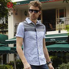 Men's clothing 2013 summer male short-sleeve shirt slim casual shirt cotton short-sleeve