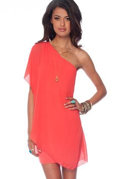 One Flutter Chiffon Dress in Coral