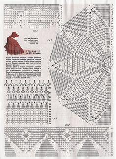 Crochet to wear, spring summer Crochet Scarves, Crochet Doilies, Crochet Clothes, Easy Crochet, Crochet Lace, Crochet Designs, Crochet Patterns, Crochet Shawl Diagram, Red Shawl
