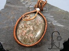 Copper Woven Wire Oval Stone Pendant, Mother of Pearl Accent, Long Copper Link Necklace by FKJewelryDesigns on Etsy