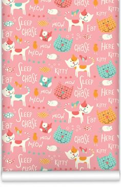 Here Kitty Kitty Wallpaper by Muffin & Mani at Bouf.com