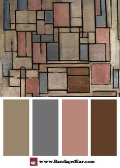 Color Palette: Composition with Color Areas, Art Print by Piet Mondrian