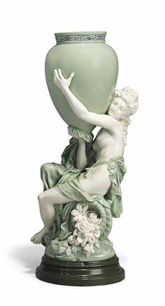 MINTON GLAZED-PARIAN CELADON-GROUND VASE - FROM A MODEL BY ALBERT-ERNEST CARRIER-BELLEUSE (1824-1887), CIRCA 1860.