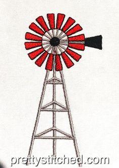 Windmill / Windpomp – Pretty Stitched Windmill, Machine Embroidery Designs, Stitch, Pretty, Full Stop, Windmills, Stitches, Costura