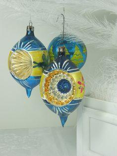 Vintage MERCURY GLASS ORNAMENTS Blue w/ Indents by LavenderGardenCottag