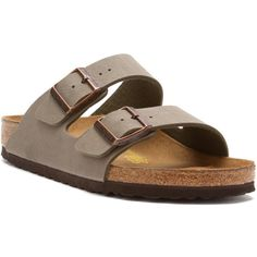Birkenstock Women's Arizona Sandals ($130) ❤ liked on Polyvore featuring shoes, sandals, stone birkibuc, padded sandals, special occasion sandals, special occasion shoes, evening sandals and buckle shoes
