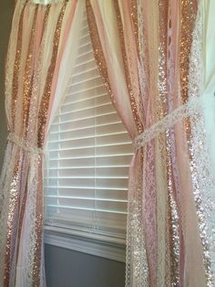 Pink Amp Gold Sparkle Sequin Garland Curtain With Lace