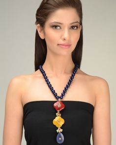 Blue Lapis Beaded Necklace with Red and Yellow Floral Stone by Just Jewellery Crystal Jewelry, Diamond Jewelry, Jewelery, Silver Jewelry, Jewelry Necklaces, Statement Necklaces, I Love Jewelry, Jewelry Design, Jewelry Making