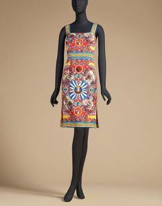 Trägerkleid aus bedruckter seide | dolce&gabbana online shop