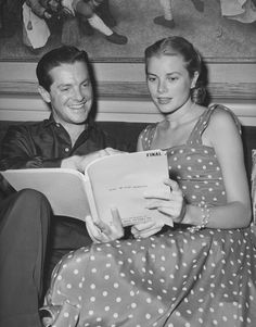 Reading through the script of Dial M for Murder with Robert Cummings in 1954.   - ELLE.com