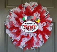 Ready, Set, Go!  Race on over to my facebook page Porch Appeal by Jen and message me with your wreath requests.  The possibilities are endless!  This Nascar, Indianapolis 500 wreath sells for $50!